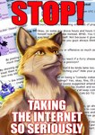 anthro business canine comment crying digital_media_(artwork) drama english_text equine fox fursecution fursecution_fox horn internet male mammal meme reaction_image red_fox serious solo taurin_fox tears text unicorn yellow_eyes