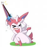 2015 ambiguous_gender canine crying cute dlrowdog eeveelution feral fur humor mammal multicolored_fur nintendo pink_fur pokémon simple_background solo stretching stylus sylveon tears tongue video_games what white_fur  Rating: Safe Score: -1 User: Big_W Date: November 29, 2015