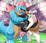 anal anal_penetration balls battle canine chain cum dog double_penetration feraligatr kissing licking male male/male mammal nintendo overweight penetration penis pokémon pokémon_(species) public slightly_chubby stadium television terwin tongue tongue_out video_games zestibone zesty