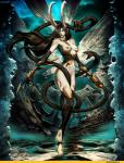 barefoot black_hair breasts chain collar female genzoman grey_skin hair horn long_hair naturally_censored navel nipple_piercing nipples piercing red_eyes slaanesh solo spikes standing warhammer_(franchise)  Rating: Questionable Score: 11 User: Sem8252 Date: August 18, 2014