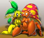 ? anthro anthrofied areola beady_eyes black_sclera blush bow breasts claws duo elpatrixf female flora_fauna fungi_fauna hair_bow hair_ribbon nintendo nipples nude open_mouth parasect pincers plant pokémon pokémon_(species) pokémorph pussy ribbons sitting sunkern video_games white_eyes