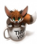 2013 4_fingers ambiguous_gender black_fur black_nose canine coffee_mug cup dipstick_ears dipstick_tail english_text eye_reflection feral fluffy fluffy_tail fox front_view fur green_eyes hair high-angle_view in_container in_cup inner_ear_fluff looking_at_viewer mammal multicolored_tail nude open_mouth orange_fur red_fox reflection simple_background smile solo text thanshuhai white_background white_fur