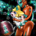 abdominal_bulge bdsm blush bondage bound box_xod censored cum cum_in_uterus cum_inside deoxys duo erection female from_behind_position humanoid humanoid_on_humanoid ineffective_censorship internal jirachi legendary_pokémon looking_pleasured male male/female nintendo normal_deoxys open_mouth penetration penis pokémon pussy saliva sex smile spread_legs spreading tentacles tongue tongue_out uterus video_games