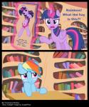 2014 angry bedroom_eyes blue_fur blush book bookshelf comic conscious_donkey cutie_mark desk english_text equine female friendship_is_magic fur hair hi_res horn junglepony levitation library looking_at_viewer magic mammal multi-colored_hair my_little_pony pegasus purple_eyes purple_fur rainbow_dash_(mlp) rainbow_hair text twilight_sparkle_(mlp) unicorn winged_unicorn wings   Rating: Questionable  Score: 32  User: ConsciousDonkey  Date: April 07, 2014