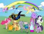 2013 adventure_time angel_(mlp) anthro apple applejack_(mlp) avian backpack bird black_hair blonde_hair boots canine clothed clothing cowboy_hat crossover crown cutie_mark dog elephant empty-10 equine eyes_closed female feral finn_the_human floating footwear freckles friendship_is_magic fruit green_eyes group hair hat horn horse human humanoid jake_the_dog lab_coat lady_rainicorn lagomorph lumpy_space_princess male mammal marceline multicolored_hair my_little_pony navel pants penguin pink_hair pinkie_pie_(mlp) pony princess_bubblegum purple_eyes purple_hair rabbit rainbow_dash_(mlp) rainbow_hair rarity_(mlp) shirt shorts standing tree_trunks twilight_sparkle_(mlp) two_tone_hair unicorn vampire wings  Rating: Safe Score: 4 User: slyroon Date: April 29, 2013