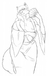anthro big_breasts breasts canine clothed clothing fan female fox hair half-dressed line_art mammal nipples one_eye_closed open_shirt shirt simple_background solo standing sukebepanda sweat tongue tongue_out white_background  Rating: Questionable Score: 4 User: msc Date: February 19, 2010