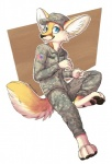 anthro army aseethe blue_eyes brown_fur camo canine fennec fox fur korval looking_at_viewer male mammal military solo uniform united_states_of_america white_fur  Rating: Safe Score: 9 User: Fenrick Date: October 23, 2014""