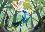 2015 ambiguous_gender antlers blue_eyes cervine day deer feral forest fur hi_res horn leaf legendary_pokémon mammal nintendo outside plant pokémon solo sun sunlight tree video_games wood xerneas   Rating: Safe  Score: 4  User: N7  Date: January 03, 2015