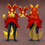 anthro anthrofied big_breasts big_butt breasts butt claws delphox eyewear female glasses hair hand_on_hip ipan long_hair looking_at_viewer nintendo nipples nude plantigrade pokémon pussy red_eyes red_hair solo toe_ring video_games wide_hips   Rating: Explicit  Score: 13  User: chdgs  Date: January 27, 2015