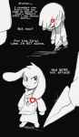 2015 <3 ambiguous_gender asriel_dreemurr black_and_white_and_red caprine comic dialogue duo english_text fatz_geronimo_(artist) goat human knife male mammal monster protagonist_(undertale) smile text undertale video_games what_if young  Rating: Safe Score: 8 User: ROTHY Date: September 23, 2015