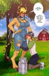 2016 anasheya animal_humanoid balls big_breasts black_hair blonde_hair blue_eyes blush bovine breasts cathyl_(monster_musume) cleavage clothed clothing cloud collar cow_humanoid cowbell cum cum_drip cum_in_mouth cum_inside cum_leaking day detailed_background dialogue dickgirl dickgirl/male dickgirl_penetrating dripping duo english_text erection farm fellatio grin hair hi_res horn human humanoid intersex intersex/male intersex_penetrating kimihito_kurusu larger_dickgirl larger_intersex male mammal monster_girl monster_musume oral oral_penetration outside overalls penetration penis pointy_ears purple_eyes sex size_difference sky smaller_male speech_bubble standing text thick_thighs torn_clothing tree  Rating: Explicit Score: 50 User: Pasiphaë Date: April 05, 2016