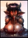 2015 big_breasts blush breasts cleavage clothed clothing cum demon female hair horn horny huge_breasts looking_at_viewer neurodyne nipple_slip nipples open_mouth sex simple_background sketch smile solo steam  Rating: Explicit Score: 6 User: xn0 Date: July 20, 2015
