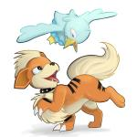 avian bird blue_eyes canine duck ducklett duo feral growlithe mammal nintendo open_mouth pokémon simple_background smile studded_collar teeth trinitycollapse video_games white_background
