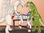 2016 anthro bdsm becaria bench bondage bound cuffs_(disambiguation) cum cum_inside dragon erection feathered_wings feathers fur group group_sex kina_nythill male mammal nude oral penetration penis sergal seti sex simple_background spitey threesome wingsRating: ExplicitScore: 5User: SetiDate: March 22, 2017
