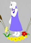 anthro caprine claws digitigrade female flower goat hand_on_chest hindpaw horn mammal open_mouth paws plant smile solo toriel undertale  Rating: Safe Score: 7 User: Vaporeon Date: August 17, 2013
