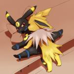 2015 ambiguous/ambiguous ambiguous_gender ball_gag bdsm black_fur blush bondage bound duo eeveelution feral fur gag jolteon nintendo paws pillow pokémon pokémon_(species) red_eyes spread_legs spreading umbreon video_games white_fur yellow_fur シュガー