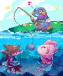 alomomola ambiguous_gender croagunk feral fishing fishing_rod group nintendo outside pokémon skrelp video_games water