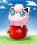 ambiguous_gender apple big_eyes blue_eyes cloud cute food fruit hair_tuft jigglypuff looking_up nintendo nono103 outside pokémon sitting sky solo video_games waddling_head