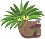 3_heads anthro anus armless big_butt butt exeggutor female flora_fauna makeup multi_head nintendo overweight pdxyz plant pokémon pussy simple_background solo video_games white_background