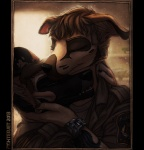 canine clothed clothing couple cuddling cute dog eyes_closed fighterjet gay hair hug hybrid inside love male mates nuzzle open_mouth police shirt smile uniform watch   Rating: Safe  Score: 7  User: GearOtter  Date: March 21, 2013