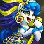 2015 blue_hair brown_eyes clothing dress equine eyeshadow female friendship_is_magic gem gold_(metal) hair hi_res horse karol_pawlinski makeup mammal microphone my_little_pony pony portrait sapphire_shores_(mlp) singing solo  Rating: Safe Score: 6 User: 2DUK Date: August 11, 2015