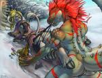 anthro black_nipples blonde_hair bovine breasts brute_wyvern butt capcom claws clothing deviljho dulcine facial_piercing female hair hooves horn iggi jhoanna mammal monster_hunter muscles nipple_piercing nipples nose_piercing nose_ring piercing pink_nipples pussy raised_tail red_claws red_eyes savage_deviljho scalie scar septum_piercing spikes teeth torn_clothing video_games yellow_eyes  Rating: Explicit Score: 23 User: voldosbt Date: March 27, 2015