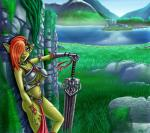 armor big_breasts breasts collar ear_piercing female goblin grass hair humanoid jewelry melee_weapon mountain oblivion orange_hair outside piercing ruins scar solo spacepiratelord standing sword the_elder_scrolls unconvincing_armor video_games warrior weapon  Rating: Safe Score: 2 User: angelshot555 Date: May 19, 2015