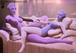 2016 alien asari bed breasts clothing duo elbow_gloves eyes_closed female female/female gloves holding_arm humanoid legwear lying markings mass_effect navel nipples not_furry on_back on_bed queencomplex sex smile spread_legs spreading thigh_highs tribadism vaginal video_games  Rating: Explicit Score: 10 User: WholeLottaLovin Date: March 20, 2016