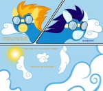 2011 blue_hair cloud cloudscape comic dialogue english_text equine eyewear female feral friendship_is_magic goggles hair male mammal my_little_pony orange_hair outside pegasus pushmi-pullyu simple_background skinsuit sky soarin_(mlp) spitfire_(mlp) sun taharon text wings wonderbolts_(mlp)   Rating: Safe  Score: 2  User: 133710|2|)  Date: September 02, 2011