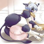 anthro blue_hair blush bovine brown_eyes censored female hair hooves horn hotaru-mia ineffective_censorship lying mammal nipples on_side pussy solo teats udders  Rating: Explicit Score: 18 User: Pasiphaë Date: January 31, 2015