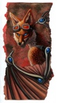 angry anthro beige_countershading biped blue_eyes bust_portrait canine countershading eyewear fox glasses grin hibbary male mammal membranous_wings nude portrait side_view smile solo traditional_media_(artwork) watercolor_(artwork) wings