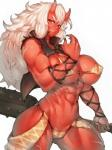 big_breasts big_muscles breasts claws clothed clothing club_(weapon) fangs female fumio_(rsqkr) hair horn humanoid long_hair looking_at_viewer melee_weapon muscular muscular_female oni red_eyes red_skin scar simple_background skimpy solo weapon white_hair  Rating: Questionable Score: 13 User: Occam Date: May 05, 2016