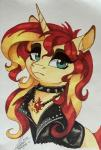 2015 blonde_hair blue_eyes clothing collar dennybutt equestria_girls equine eyeshadow female hair horn jacket makeup mammal my_little_pony necklace portrait red_hair solo spiked_collar sunset_shimmer_(eg) traditional_media_(artwork) unicorn  Rating: Safe Score: 4 User: 2DUK Date: September 06, 2015