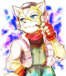 anthro black_nose blue_eyes brown_fur canine fingerless_gloves fox fox_mccloud fur gloves headset jacket male mammal nintendo scarf smile solo star_fox unknown_artist video_games white_fur   Rating: Safe  Score: 0  User: Cαnε751  Date: March 01, 2015