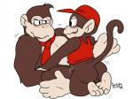2015 anal ape backsack balls barefoot black_eyes blush bottomless brown_fur butt clothed clothing diddy_kong donkey_kong donkey_kong_(series) duo fur half-dressed hat incest male male/male mammal monkey muscles necktie nintendo plain_background primate sex shirt signature size_difference soles syaokity toes video_games   Rating: Explicit  Score: 3  User: Cαnε751  Date: April 14, 2015