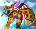 4th_of_july azaleesh beach bikini butt canine cheetah clothing copperback01 feline female flag fox hybrid kiku leopard mammal patriotism politics sea seaside skyline smile solo stars_and_stripes swimsuit united_states_of_america water  Rating: Safe Score: 19 User: Azaleesh Date: June 30, 2015