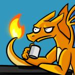 1:1 2017 anonymous_artist blue_background charizard coffee_mug cup digital_drawing_(artwork) digital_media_(artwork) dragon fire frown holding_cup holding_object humor lol_comments male nintendo orange_body parody pokémon pokémon_(species) reaction_image side_view signature simple_background sitting solo stare table tan_body too_early_for_this two_tone_body video_games wings ಠ_ಠ