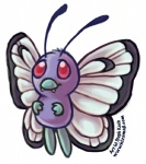 ambiguous_gender antennae butterfree cute feral flying insect_wings insext looking_up nintendo pokémon red_eyes shikoku simple_background solo teeth video_games white_background wings