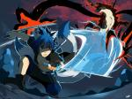 """ambiguous_gender battle blue_hair canine demon duo fox hair hi_res jace_(character) kaito male mammal melee_weapon multiple_tails night seiryuuden sword weapon  Rating: Safe Score: 1 User: slyroon Date: October 14, 2014"""""""