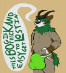 anthro bawleon belly big_belly big_bulge clothing english_text fur gogoat horn jockstrap male nintendo pokémon sketch solo standing text underwear video_games