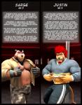 2013 3d abs anthro bear beard biceps biography black_hair braford chubby clothing comic cover duo facial_hair fangs feline fur gloves grin hair justin_(braford) lion looking_at_viewer male male/male mammal musclegut muscular nipples open_shirt pants pecs pole ponytail pose red_hair sarge_(braford) shirt shirt_lift smile standing teeth text toned torn_clothing undressing  Rating: Safe Score: 4 User: Numeroth Date: December 17, 2013