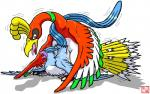 ambiguous_gender articuno avian beak bird blue_feathers cum cum_inside dragon_soul_e drooling duo feathers feral ho-oh legendary_pokémon messy nintendo open_mouth pokémon saliva saliva_string sex simple_background size_difference sweat tongue tongue_out video_games white_background