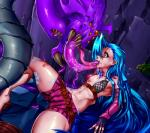 2016 absurd_res blue_hair bra breasts claws clothed clothing fangs female fingerless_gloves gloves hair hi_res human jinx_(lol) league_of_legends licking long_hair mammal monster navel nipples oral orange_eyes pink_eyes saliva shorts signhereplease spikes teeth thick_thighs tongue tongue_out underwear video_games yellow_eyes  Rating: Questionable Score: 1 User: Fur_in_the_dark Date: July 30, 2016