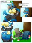 2018 anthro backpack blue_eyes blue_fur blush breasts butt canine clothing comic deerrobin english_text female fur hi_res lucario mammal nintendo one_eye_closed outside pokéball pokémon pokémon_(species) pussy raised_tail solo text tongue tongue_out torn_clothing tree undressing video_games yellow_furRating: ExplicitScore: 54User: AurassDate: August 17, 2018