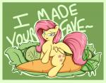bedroom_eyes carrot cucumber cutie_mark equine feathers female fluttershy_(mlp) friendship_is_magic fur graphene hair hooves lettuce long_hair looking_at_viewer mammal my_little_pony open_mouth pegasus pink_hair smile solo text wings yellow_fur   Rating: Questionable  Score: 7  User: OptimalPrime  Date: February 17, 2015
