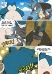 2017 absurd_res ambiguous_gender anthro burn comic duo english_text hi_res insult lucario nintendo overweight pokémon smaller_version_at_source snorlax speech_bubble text video_games winick-lim