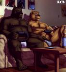 2013 5_toes alex_lindeman anthro bear biceps briefs bulge chubby clothed clothing controller duo erection erection_under_clothes eyewear facial_hair flaccid fur game_controller gaming glasses goatee grizzly_bear grope half-dressed humanoid_penis male male/male mammal multitasking musclegut muscular nipples pecs penis penis_outline playing_videogame playstation poster rov sitting sofa toes tongue tongue_out topless underwear video_games  Rating: Questionable Score: 29 User: thenewthing Date: November 26, 2013