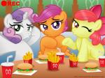 aleximusprime apple_bloom_(mlp) burger cub duck_face equine female food friendship_is_magic fries horn horse mammal my_little_pony pegasus pony scootaloo_(mlp) selfie soda sweetie_belle_(mlp) unicorn wings young   Rating: Safe  Score: 8  User: Lunaz  Date: April 06, 2014