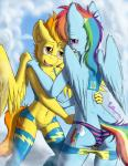 2015 anthro anthrofied back blue_fur blush clothed clothing cloud cutie_mark duo equine female female/female friendship_is_magic fur hair half-closed_eyes hi_res legwear long_hair mammal multicolored_hair my_little_pony navel open_mouth orange_hair outside panties pegasus punk-pegasus rainbow_dash_(mlp) rainbow_hair shorts spitfire_(mlp) striped_panties thigh_highs tight_clothing underwear undressing wings wonderbolts_(mlp) yellow_fur  Rating: Questionable Score: 15 User: lemongrab Date: July 08, 2015