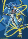 2010 android anthro armor blue_fur blue_hair blue_nose breasts claws clothed clothing feline female fur hair hi_res looking_at_viewer machine mammal mechanical navel orange_eyes ponytail robot skimpy skykain sword tiger unconvincing_armor weapon white_fur   Rating: Safe  Score: 2  User: GameManiac  Date: May 01, 2015